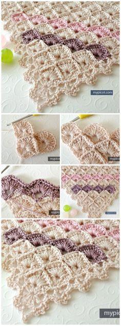 Padrão Crochet grátis para um xale triângulo lindo usando o padrão caixa de costura.