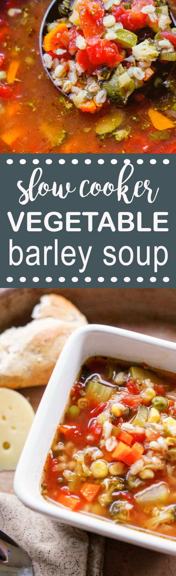 Prep ahead slow cooker vegetable barley soup made with seven vegetables - and vegetable broth with pearl barley for protein.  Sooooo good! This soup can be made ahead by prepping the vegetables.  Just throw it in the crockpot the day of your meal - and dinner is done!
