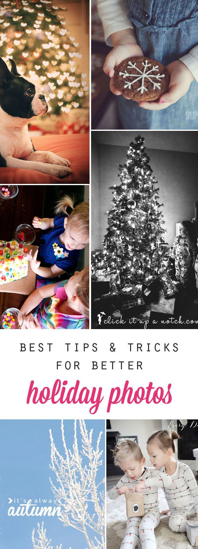 how to get better holiday photos - great tips & tricks on everything from Christmas morning to snowy day photos to Christmas tree bokeh and more!