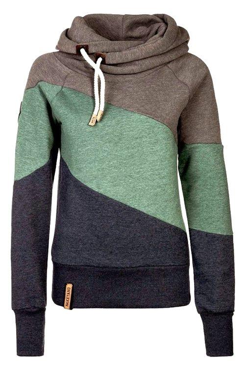 Color Block Heaps Collar Long Sleeve Sweatshirt