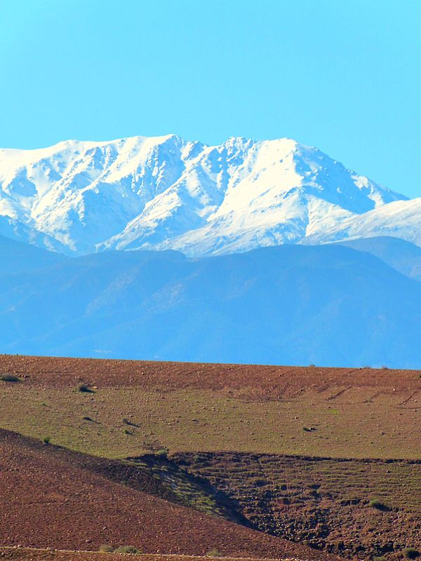 Countryside outside Marrakech, Snow-capped Atlas mountains as a backdrop