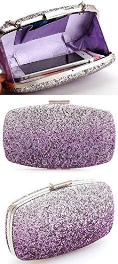 Purple Clutch Bag. Yuenjoy Womens Evening Bags Wedding Clutch Purse with Gradient Colors Glitter (Purple / Silver).  #purple #clutch #bag #purpleclutch #clutchbag