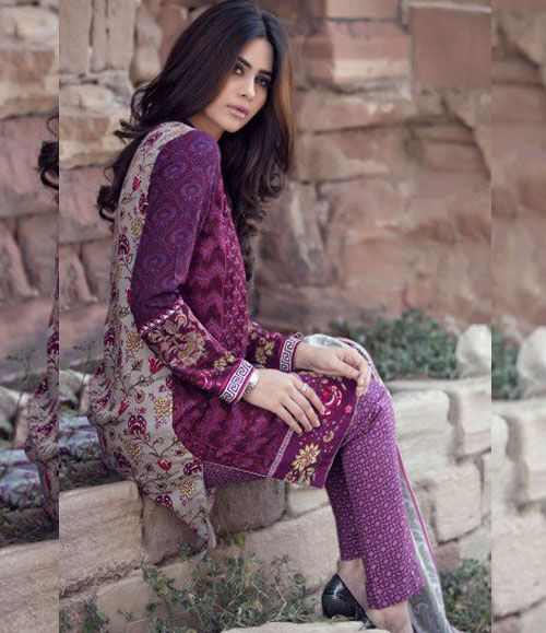 Maria B Embroidered Linen Suits collection PLUM DL-308
