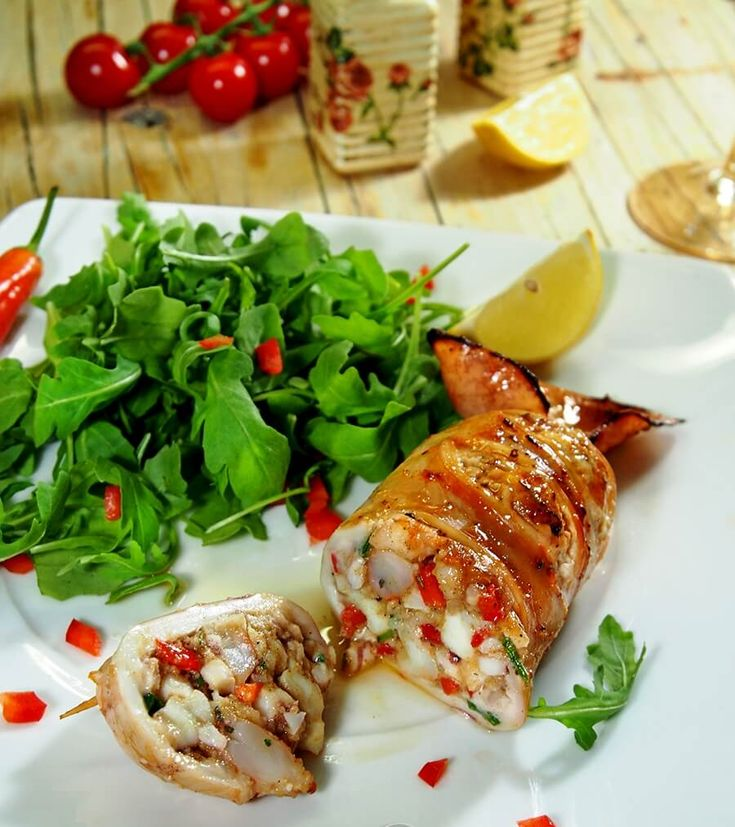 Feel the Mediterranean with Seafood Stuffed Calamari - Free Restaurant Recipes