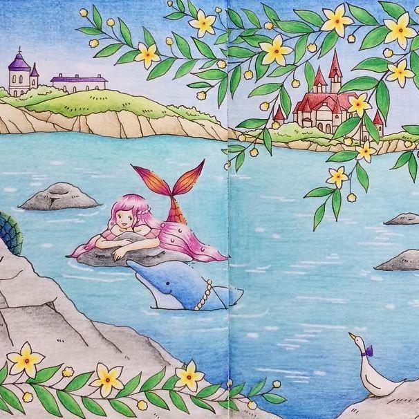 『#人魚の入り江』 #romanticcountry #romanticcountry3 #ロマンティックカントリー #ロマンティックカントリー3 #ロマカン  #プリズマカラー #ホルベイン  #色鉛筆  #塗り絵 #大人の塗り絵 #コロリアージュ