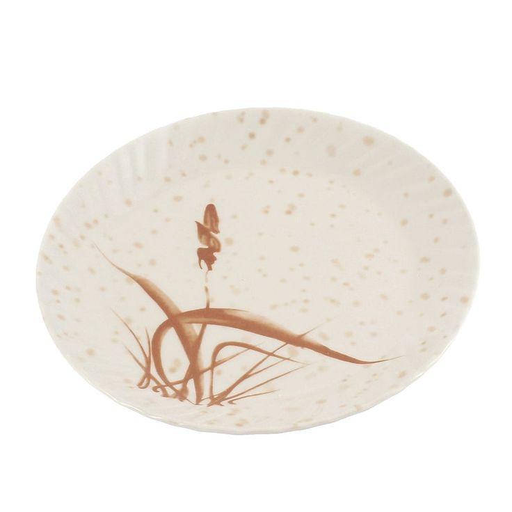 Unique Bargains Plastic Grass (Green) Printed Round Design Lunch Food Dish Plate 23cm 9 Dia