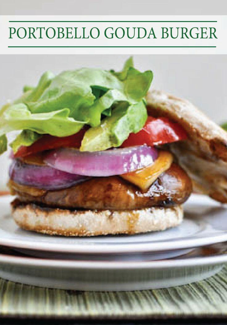 This Piled Portobello Gouda Burger recipe is a savory solution for ...