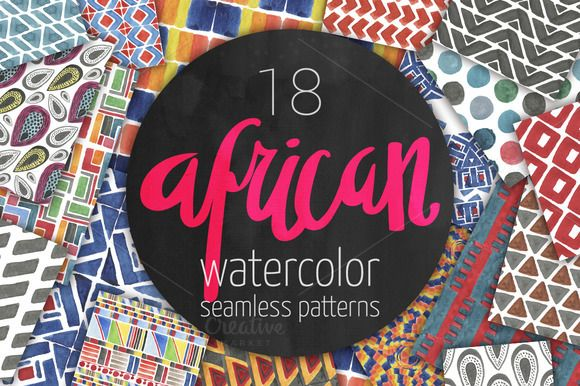 African patterns: watercolor set by likorbut on @creativemarket