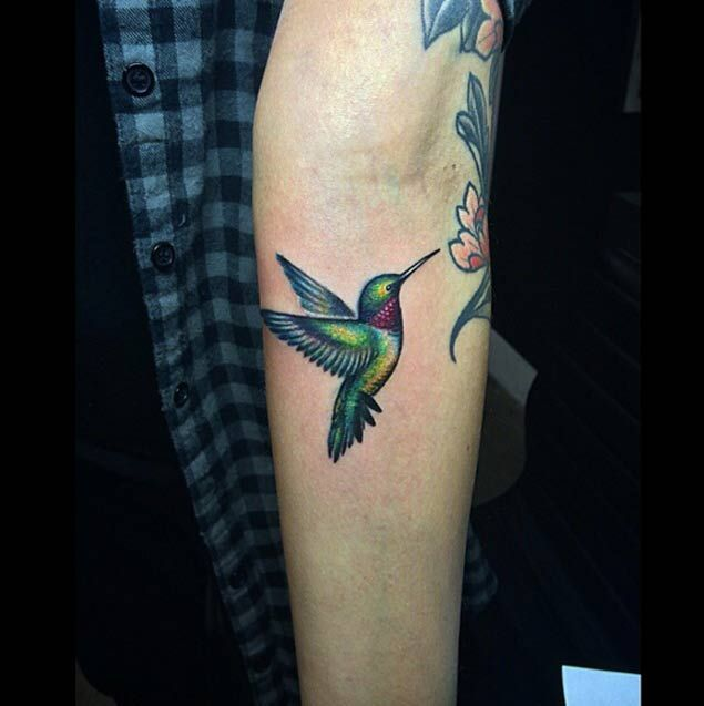 Ruby-Throated Hummingbird Tattoo by Lazer Liz