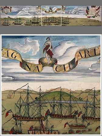 The Blockade of Boston Harbour A Perspective View of the Blockad[e] of Boston Harbour Watercolor on laid paper by Christian Remick, circa 1768 32.6 cm x 155.5 cm  This watercolor by Christian Remick depicts Boston Harbor with British warships at anchor off Long Wharf while their troops disembark. The central banner cites the Magna Carta, which symbolized individual rights and the accountability of the king to the law.