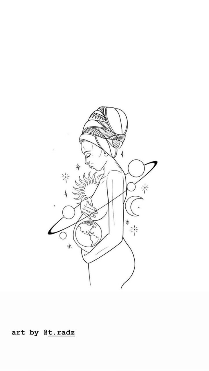 siempre en mi corazon #linedrawings #afrocentric #africanwomen #momtobe #pregnan…