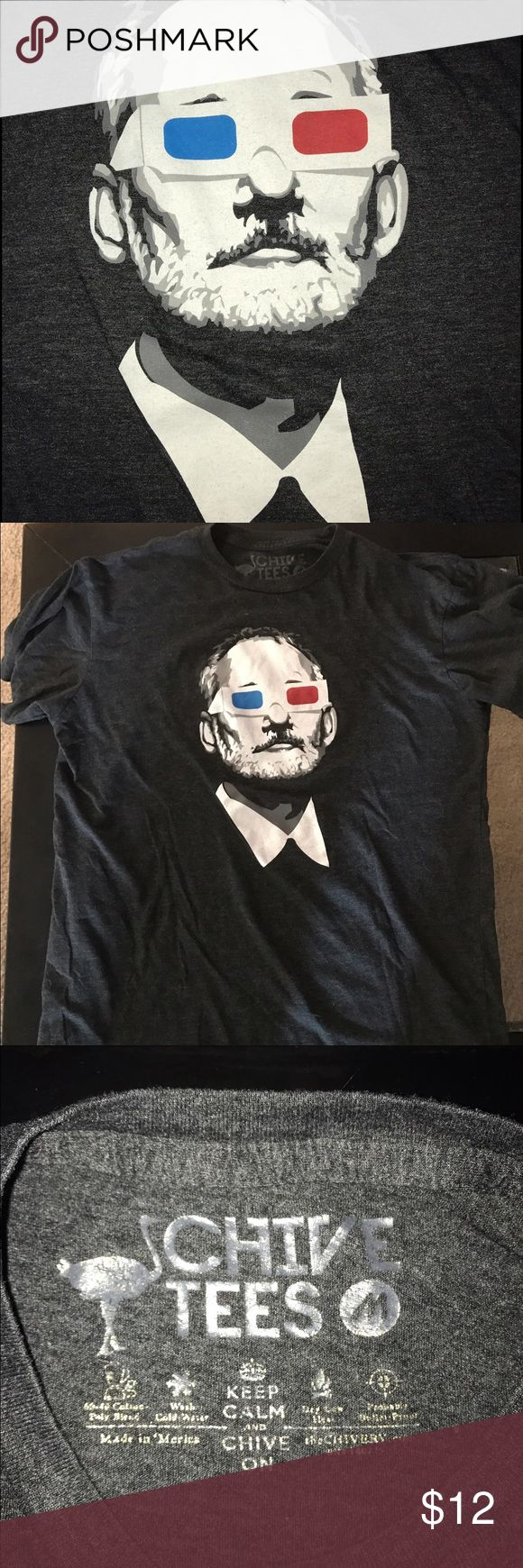 Chive - Bill Murray 3D glasses shirt Lightly worn super comfy gray t shirt chive Shirts Tees - Short Sleeve