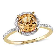 7.0mm Citrine and Diamond Accent Frame Ring in 10K Gold  - Peoples Jewellers