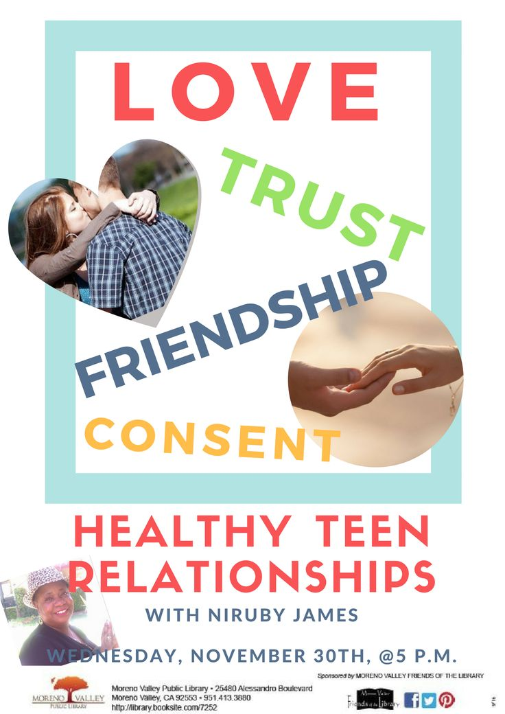 Nov. 30th @ 5pm. Healthy Teen Relationships w/Niruby James.