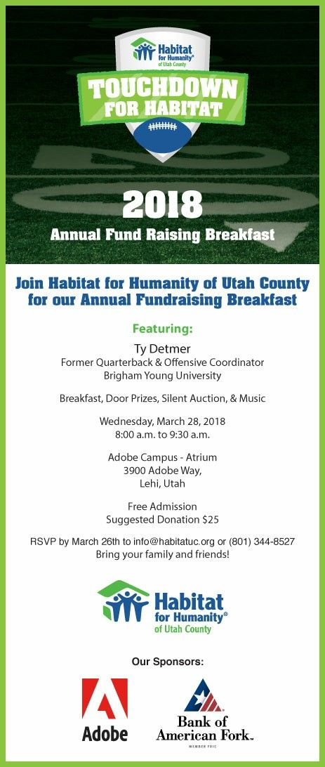 Don't miss out on this opportunity to see hear Ty Detmer speak while supporting Habitat's important mission here in our community! RSVP by tomorrow atinfo@habitatuc.orgor (801) 344-8527. Thank you!
