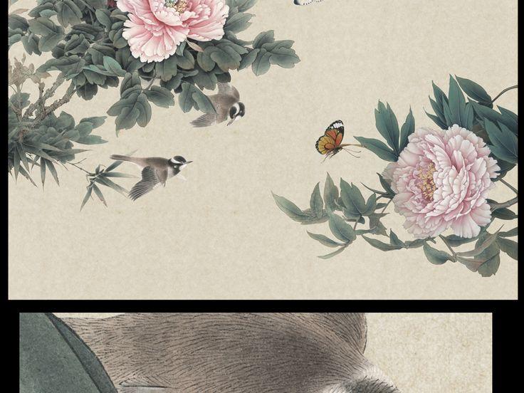 电视背景墙绘画囹�a_高清手绘新中式工笔牡丹壁画装饰画图片设计素材_psd模板下载(274