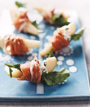 Pears with Blue Cheese and Prosciutto.  Simple yet elegant appetizer.