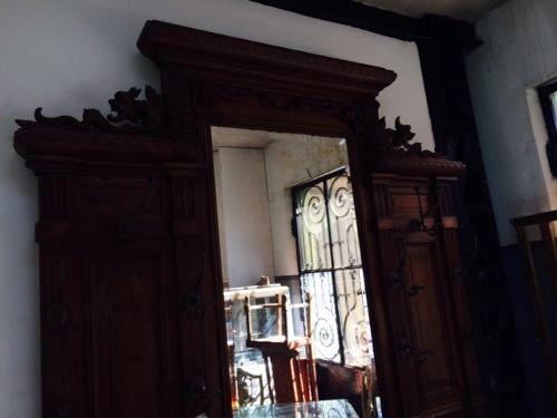 Antiguo perchero recibidor con espejo de madera tallada - Perchero recibidor antiguo ...