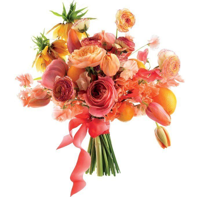 """For a sweet and unexpected treat, pair bright orange clementines with pretty pink tulips and garden roses. French tulip, """"Antike"""" and """"Juliet"""" garden rose, crown imperial, ranunculus, sweet pea, and clementine wedding bouquet, $300, Amy Merrick See more tulip wedding flowers."""