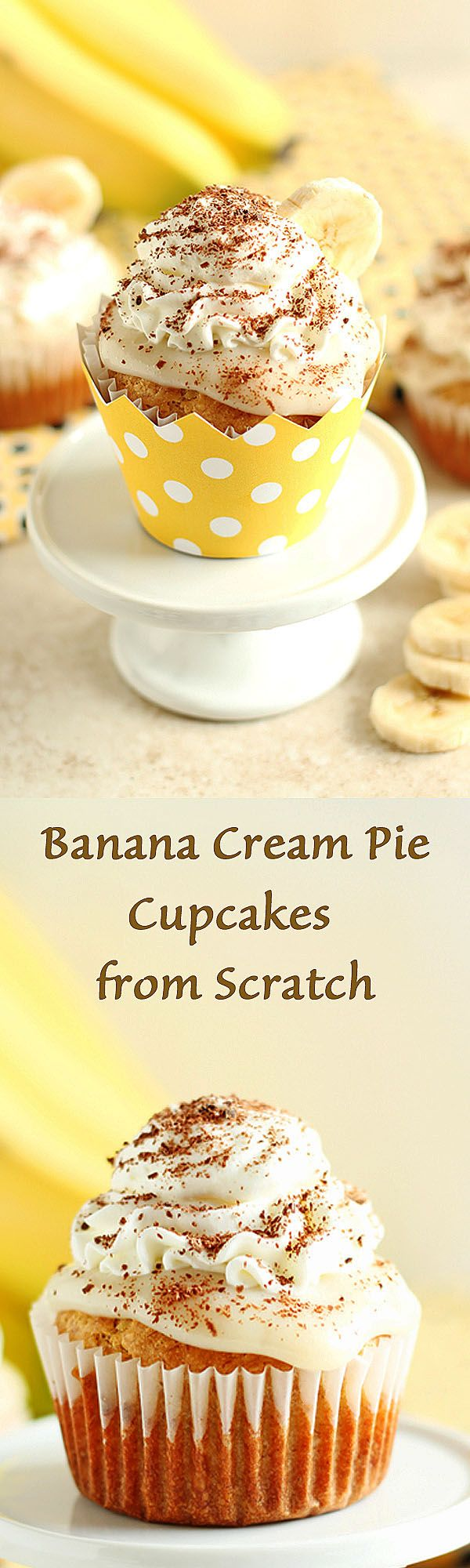Banana Cream Pie Cupcakes from Scratch - Fluffy and moist banana cream pie cupcakes made from scratch with delicious vanilla pudding and whipped cream frosting. Perfect recipe for a party! by ilonaspa