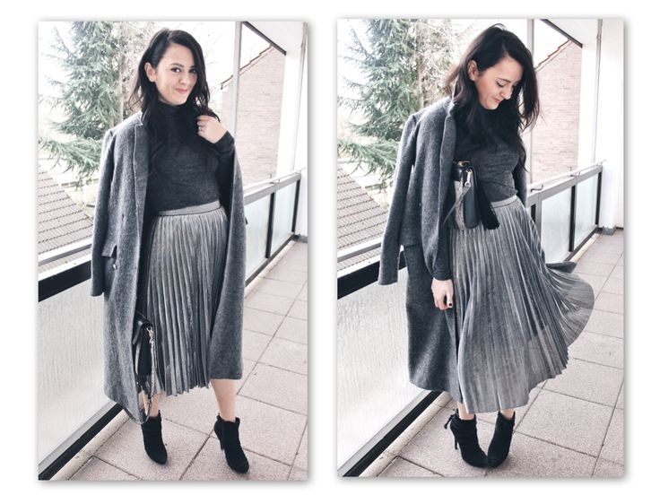 pleated skirt @Official_SheIn outfit shades of grey ootd