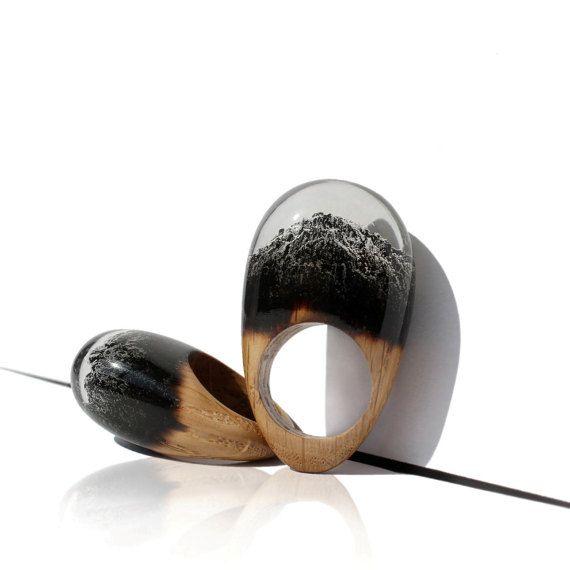 Anillo de madera, resina de Epoxy, resina madera joyería, anillo de madera, madera y resina, de madera de la joyería, joyería hecha a mano de resina