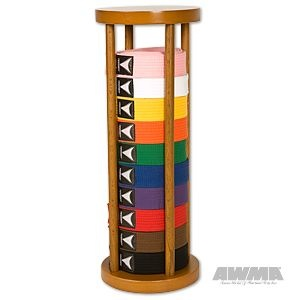 For my Karate Kids!Round Stacker Solid Wood Cylinder Belt Display Rack - 10 Level