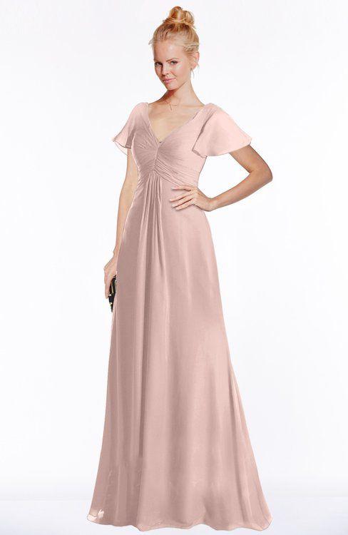 4991b728860 ColsBM Ellen Dusty Rose Modern A-line V-neck Short Sleeve Zip up Floor  Length Bridesmaid Dresses