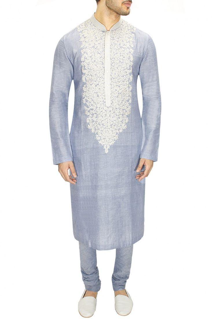 Sky blue kashmiri embroidered kadhi kurta - Sabyasachi