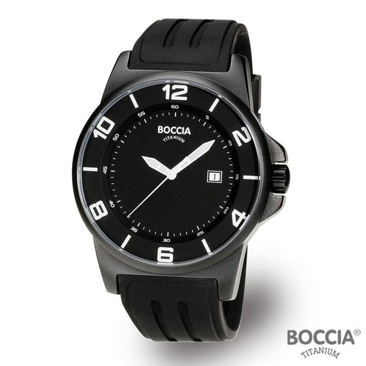 17 best images about watches men s watches black boccia titanium black rubber band titanium case mens watch 3535 02 black mineral dial date