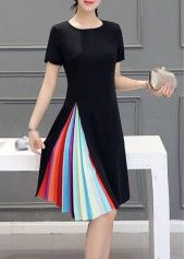 Short Sleeve Zipper Closure Black Dress | lulugal.com - USD $21.36