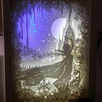 Disney Frozen inspired paper cut light box, 3d dream box, shadow box, papercut