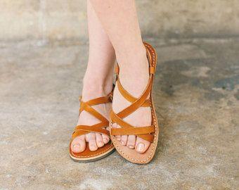 Sandalias griegas resbalón en sandalias pisos de verano