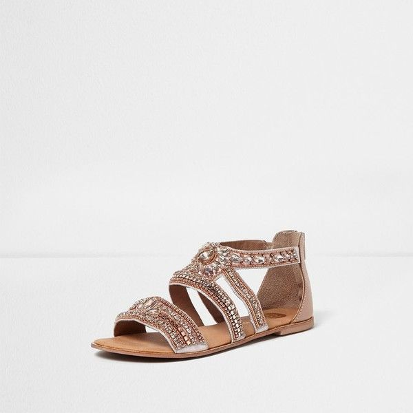 River Island Rose gold embellished multi strap sandals (£40) ❤ liked on Polyvore featuring shoes, sandals, embellished shoes, river island sandals, beaded sandals, beaded shoes and jeweled shoes