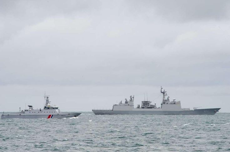 South Korean Navy KDX2 Class Destroyer Dae Jo-Yeong & French Patrouilleur de Service Public (similar to Coast Guard) PSP Piping (foreground) off Cherbourg during joint training & port visits between 14-17 September 2013.