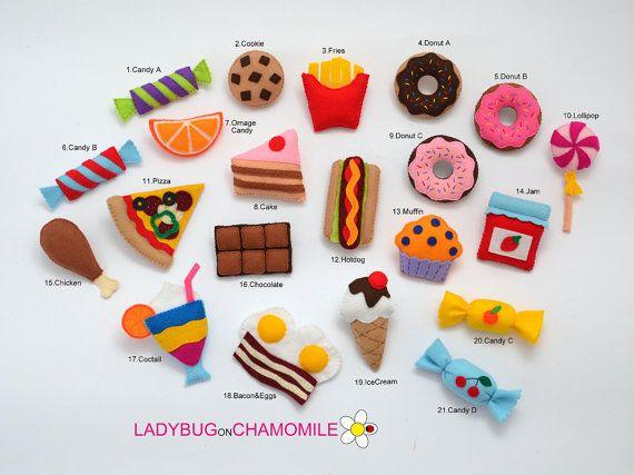 VOEDSEL voelde magneten - Kies dat uw items - prijs per 1 stuk - maken uw eigen set - snoep magneten, vilten taart, snoep, vilt pizza magneet,