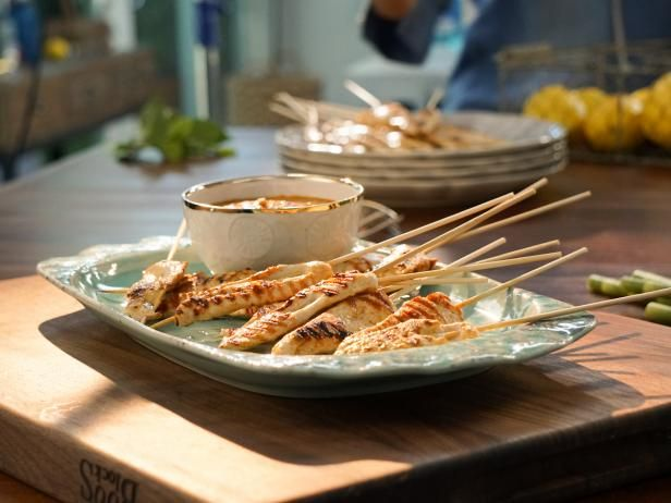 Get Chicken Satay with Peanut Sauce Recipe from Food Network