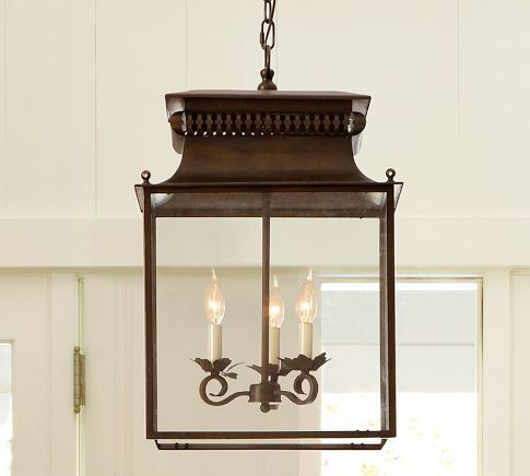 Bolton Lantern | Pottery Barn - Dining room/Kitchen over table w/one square decorative ceiling tile trimmed out.