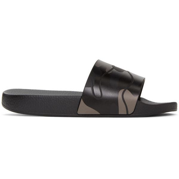 Valentino Black Camo Slide Sandals ($260) ❤ liked on Polyvore featuring men's fashion, men's shoes, men's sandals, black, mens black sandals, mens black shoes, mens slip on sandals, mens slip on shoes and mens camo shoes