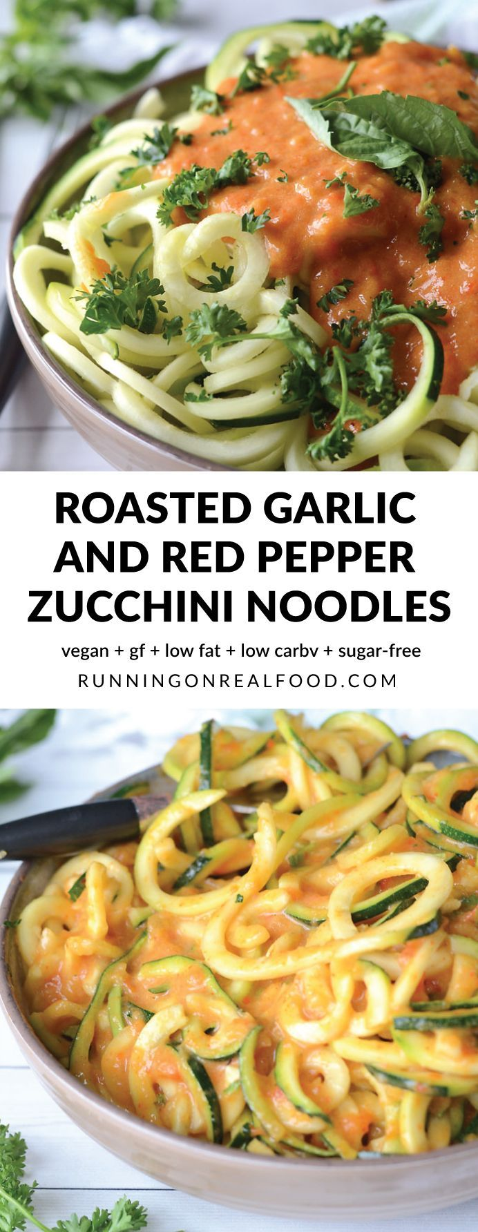 These healthy, vegan roasted garlic and roasted red pepper zoodles are low in carbs and fat with 12 grams of protein per serving. You can enjoy your zucchini noodles or raw or cook them up if you prefer! Easy to make, keeps well, very low calorie alternative to pasta. Full of flavour and nutrition.  Recipe: http://runningonrealfood.com/roasted-garlic-and-red-pepper-zoodles/