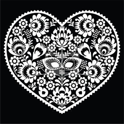 polska-sztuka-ludowa-sercem-bialy-wzor-na-czarno-wzory-lowickie.jpg (400×400)
