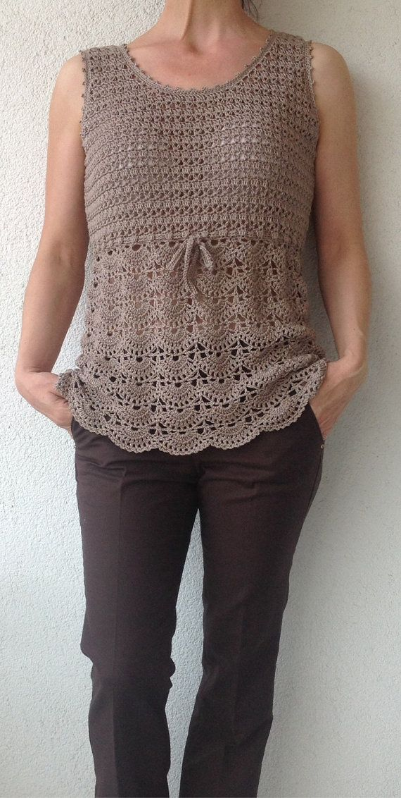 Beige Crochet Top/Women Crochet Top/Crochet Top by Bisakole, $65.00
