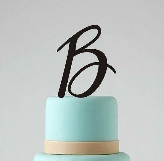 "Single Monogram Wedding Cake Topper - Custom Personalized Cake Topper - 5"" Letter Cake Decoration - Wedding Cake Decor on Etsy, $12.00"