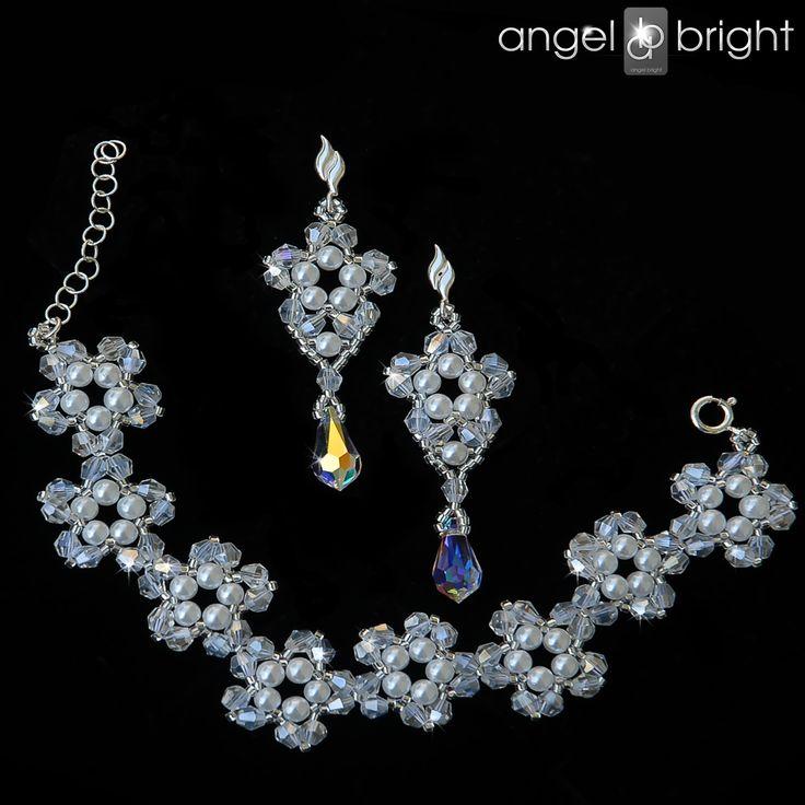 Komplet Perłowo Kryształowy – Swarovski- Srebro – Angel Bright