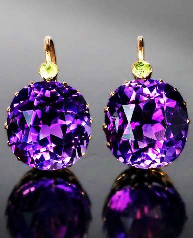 Antique Amethyst and Demantoid Earrings, ca. 1899.