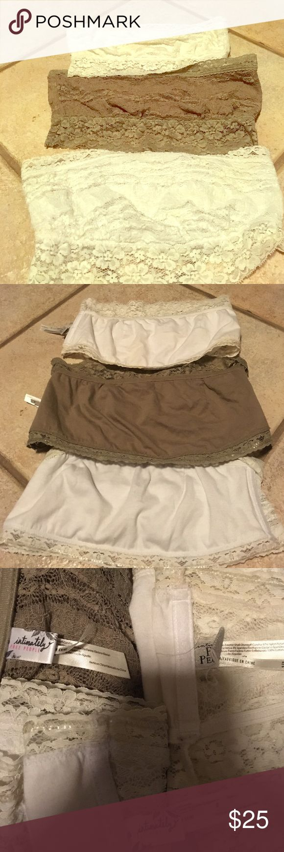 Free people bandeaus 3 free people bandeaus. The white one are a small and a med. the tan is Lg. Price is for all 3 Free People Intimates & Sleepwear Bandeaus
