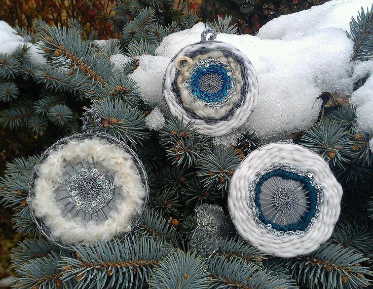Holiday ornaments by Wild Hare Fiber Studio