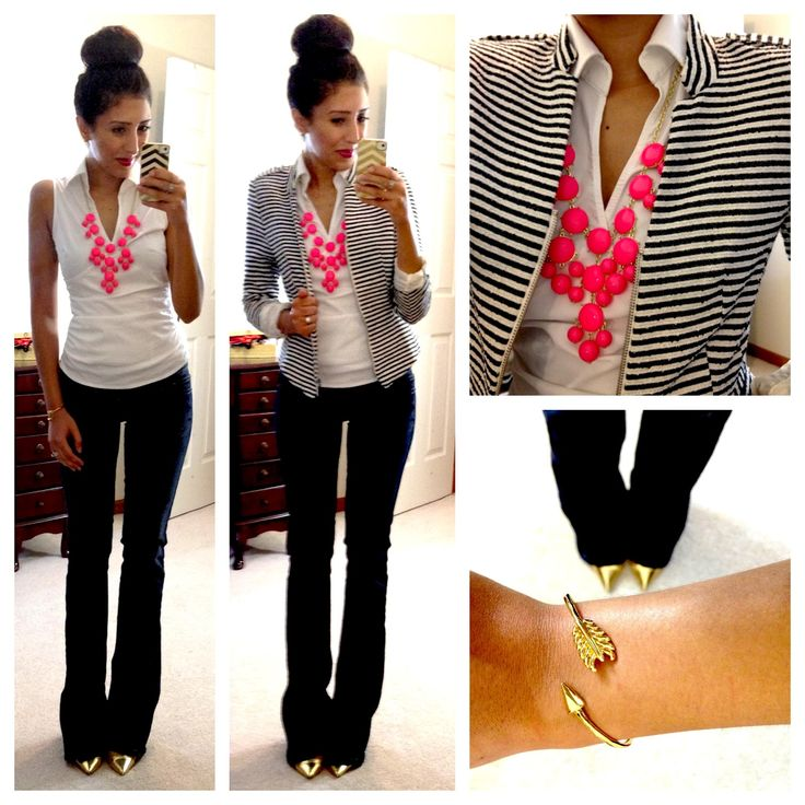 Work outfit with fun pop of color: striped blazer + white top + black pants + bright bubble necklace