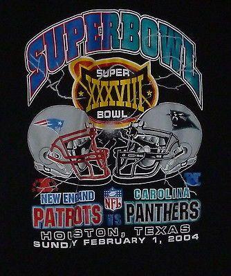Super Bowl XXXVIII NFL Football New England Patriots VS Panthers Tshirt Large