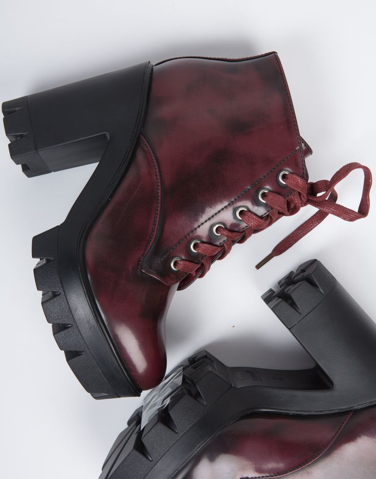 Elevate your look this season with these Chunky Lace-Up Boots! These boots feature a lug sole with a chunky platform heel. These boots have laces that go all the way up for closure offering a casual t